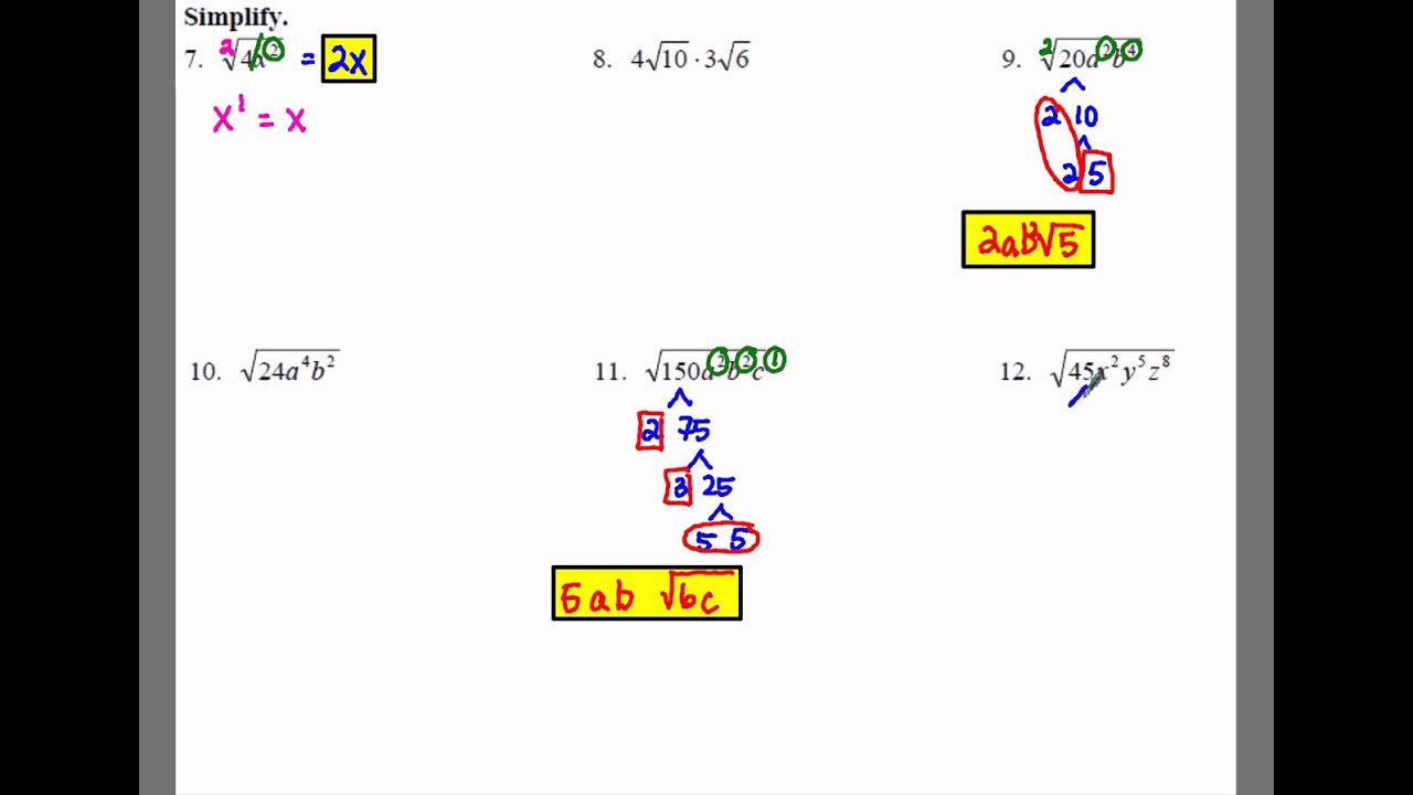 Algebra 1 10 2 Notes Example 2