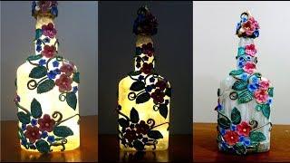 DIY Glass Bottle Craft Idea / Glass Bottle Lamp