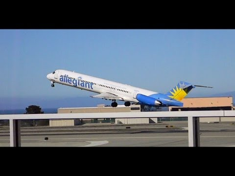 HD *Must Watch* Allegiant Air MD-83 Start up. Taxi, and Takeoff from Monterey Regional Airport