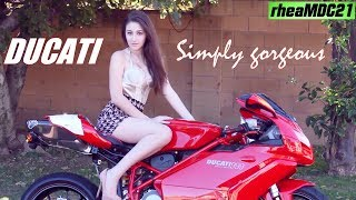 All About Motorcycles: The Goddess and the Red DUCATI Superbike. A Gorgeous Woman and the Motorcycle