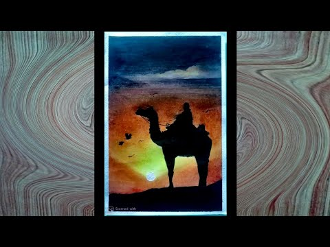 Paint with oil pastels | camel in Sunset painting with oil pastels | #kidsartschillerparty