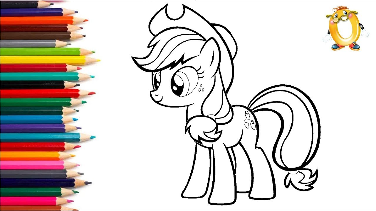 раскраска для детей герои мультиков мой маленький пони эпплджек