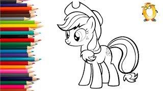 Раскраска для детей ГЕРОИ МУЛЬТИКОВ: Мой маленький пони - Эпплджек.