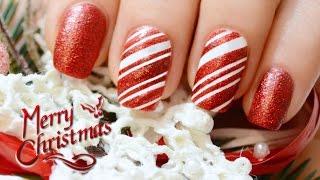 Зимний дизайн ногтей Карамельная трость / Candy Cane NailArt