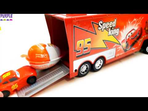 Disney Cars Mack Truck Trailer and Mcqueen Kinder Surprise Eggs Unboxing Colors Play Doh Dress Up