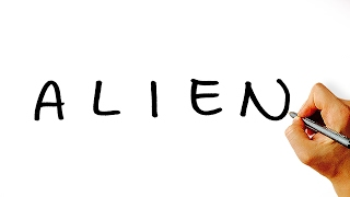 Very Easy! How to Turn Word Alien Into a Cartoon Alien. Art on Paper for Kids!