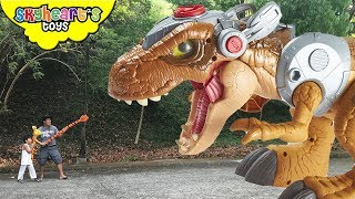 Escape from JURASSIC REX ||| Skyheart & Daddy action chase nerf war dinosaurs for kids