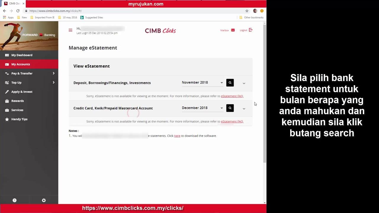 Cara Download Penyata Bank Statement Cimb Bank Youtube
