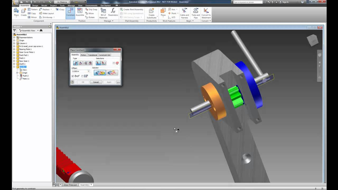 Inventor 2012 Animating Assemblies Using Drive Constraints