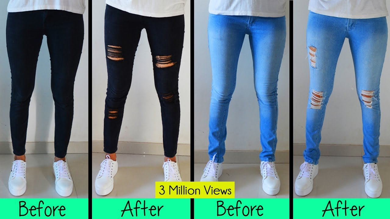 DIY Distressed Jeans- One Easy Techinque - YouTube