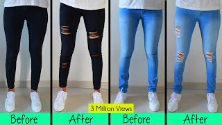 DIY  Distressed Jeans- One Easy Techinque