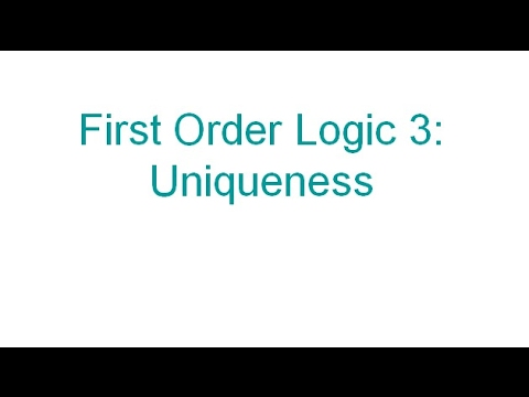 uniqueness in first order logic with equality for critical thinking