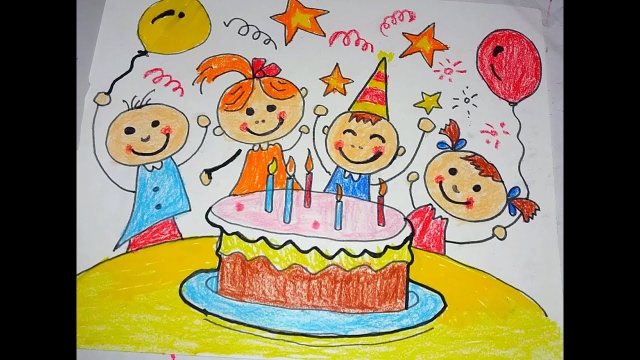 How To Draw Happy Birthday Drawing For Kids Youtube
