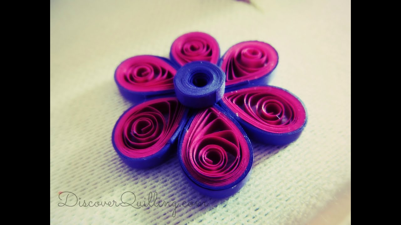 Diy paper quilling tutorial pink and purple flower youtube mightylinksfo