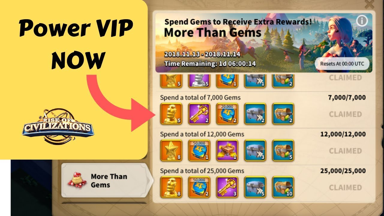 Power VIP during MORE THAN GEMS event - Rise of Civilizations