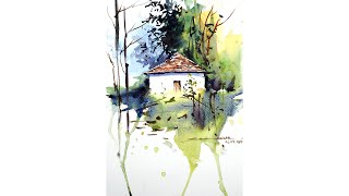 Basic watercolor Landscape painting for beginners by sikander singh chandigarh India
