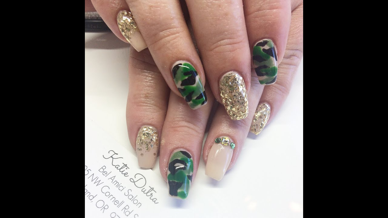 QUICK LOOK: Coffin Shaped Gel Nails With Camo Nail Art Design - YouTube