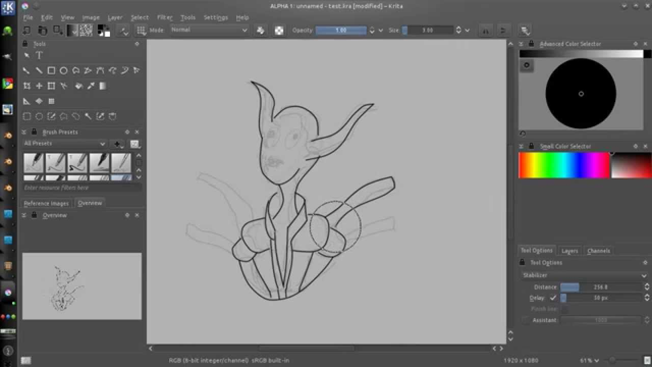Drawing Smooth Lines With A Tablet : Krita stabilizer feature youtube