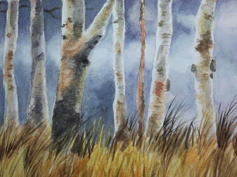 Pintura a la Acuarela . Bosque de Arboles (Por Pasos) - YouTube
