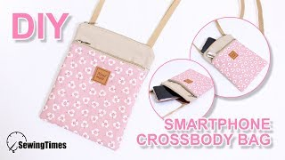 DIY Smartphone Crossbody Bag | 미니 핸드폰 가방 | 2 zipper pouch bag tutorial [sewingtimes]
