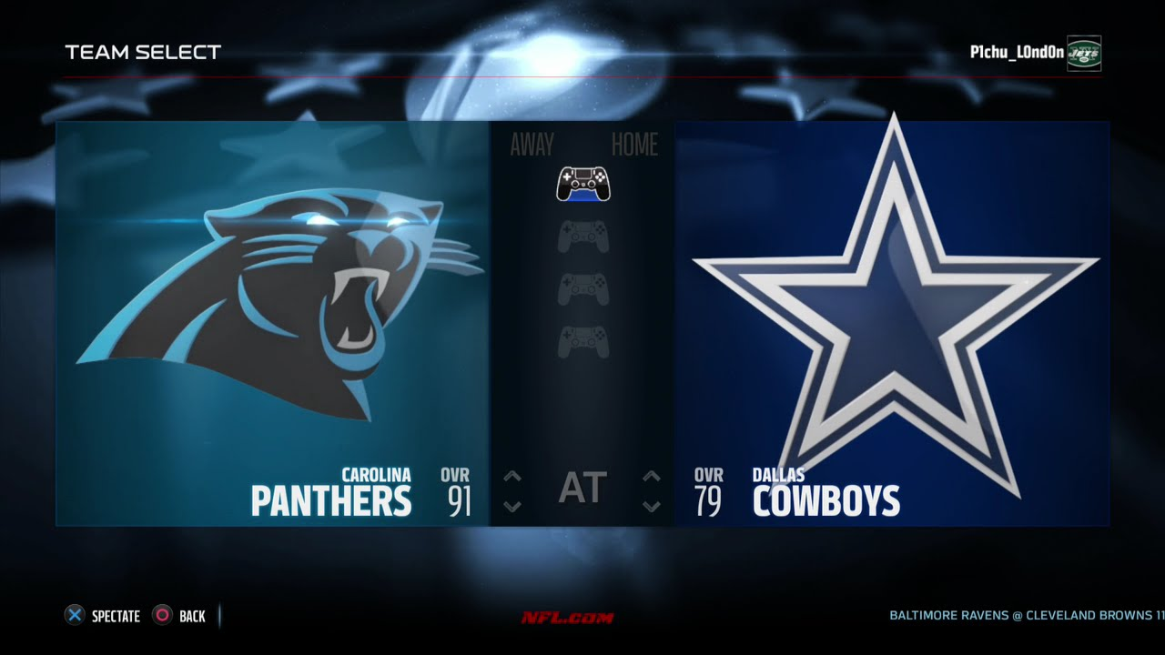 2015 nfl thanksgiving sim - carolina panthers vs dallas cowboys