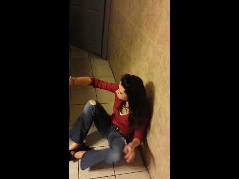 Drunk White girl almost knocks herself out WASTED