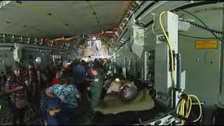 Inside a C-17 military transport aircraft