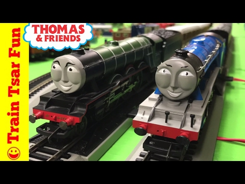 Flying Scotsman vs Gordon – Hornby Trains OO Scale Running On Bachmann HO Scale Track