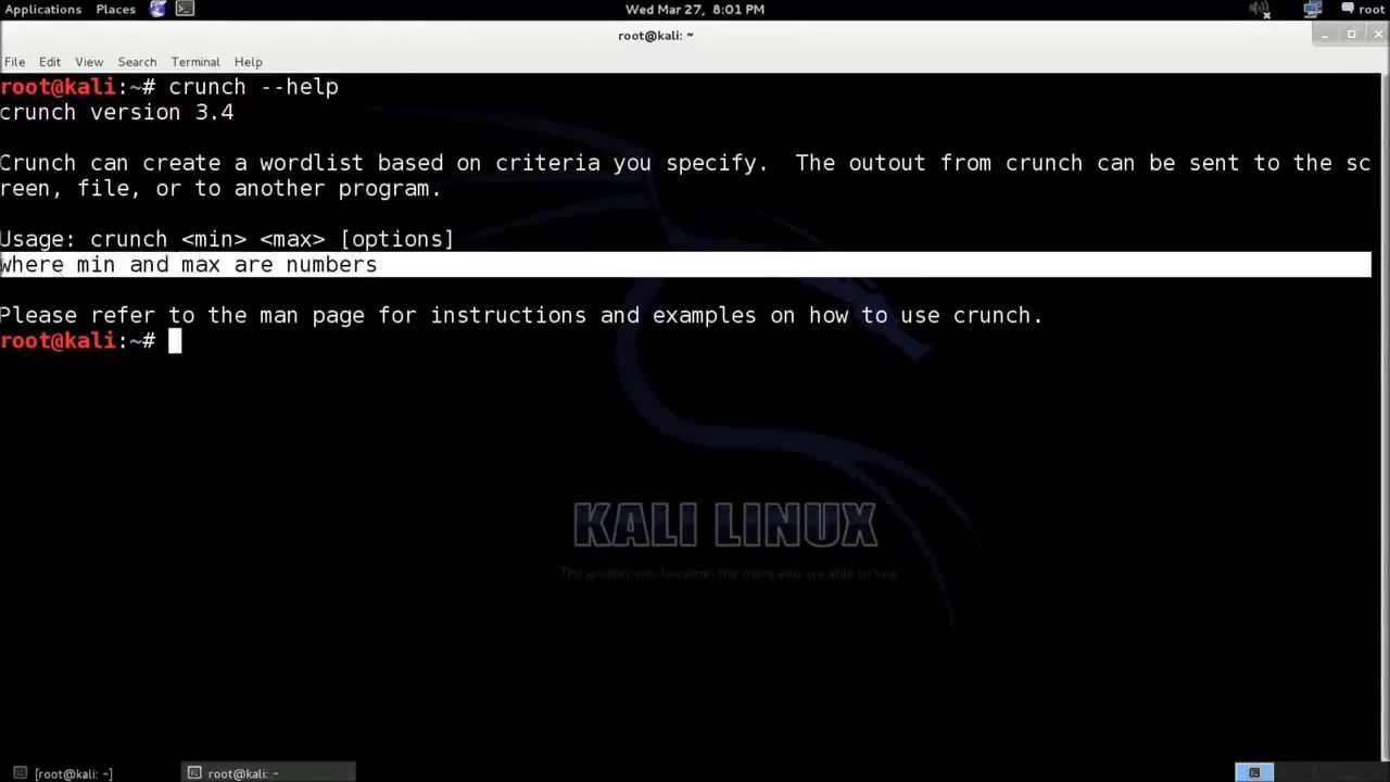 Create wordlist for Dictionary attack with crunch on Kali Linux