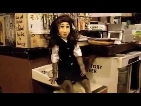 Fukuchan Monkey in wig, mask, works Restaurant!