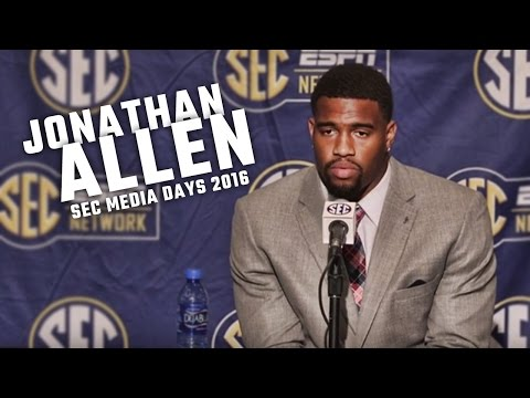 Jonathan Allen speaks to a packed house at SEC Media Day 2016