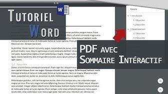Word | Créer un PDF interactif avec Sommaire