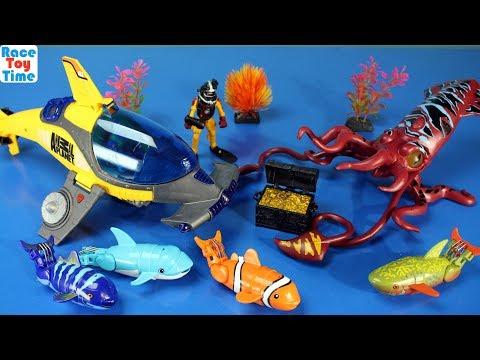 Animal Planet Deep Sea Animals Squid Shark Fun Toys Playset For Kids