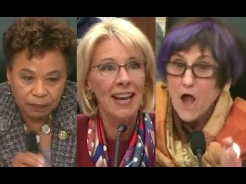 """""""YOUR HEAD IS IN THE SAND!!!"""" Congresswomen WIPE THE FLOOR with Trump Lackey Betsy DeVos"""
