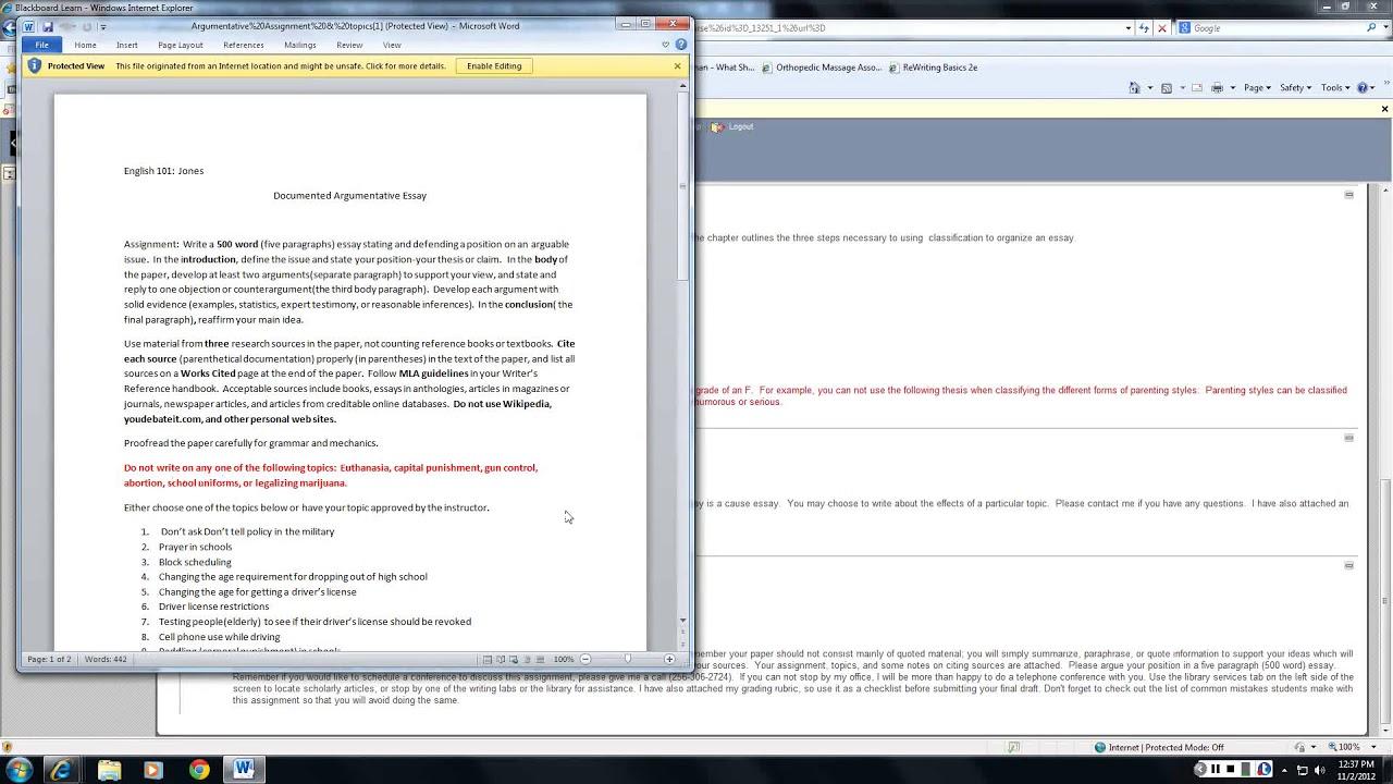 Writing documented essays