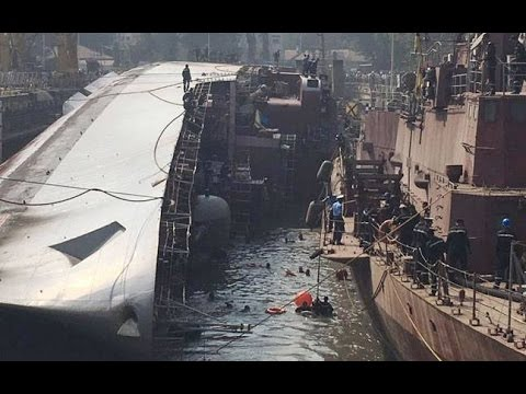 The Indian frigate of F39 Betwa has overturned in dry dock