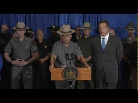 Gov. Andrew Cuomo holds a press conference with State Police and other law enforcement officials to confirm capture of escape prisoner David Sweat.