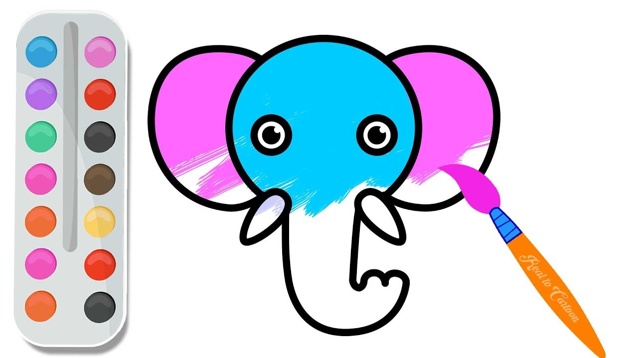 How to draw a cute elephant face step by step | Coloring pages for ...