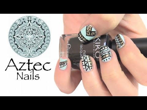 "aztec nails ""estilo tribal"""