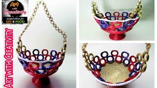DIY How to Make a Basket from Recycled Newspaper | Handmade Basket | Art with Creativity 100