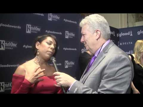 Artists Exposed with Tym Moss talks to SELENIS LEYVA at the 2016 Glaad Media Awards