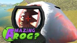 Amazing Frog - LASER GUN VS GIANT SHARK (MEGALODON) - PC Gameplay Part 21