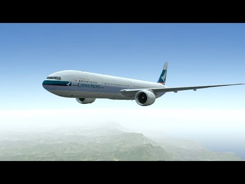 Cathay Pacific Boeing B777 - 300ER takeoff at Honolulu International Airport