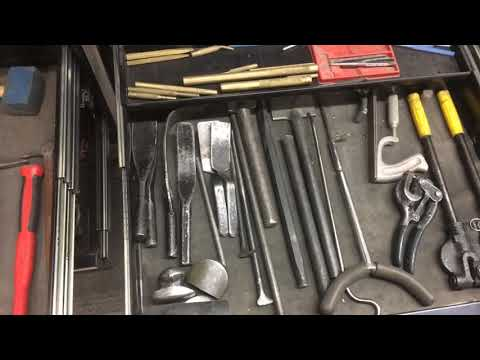 Auto Body Shop Tools, hammers and metal working tools.