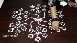 easy rangoli designs with 9x5 dots || simple kolam designs with dots || easy muggulu designs