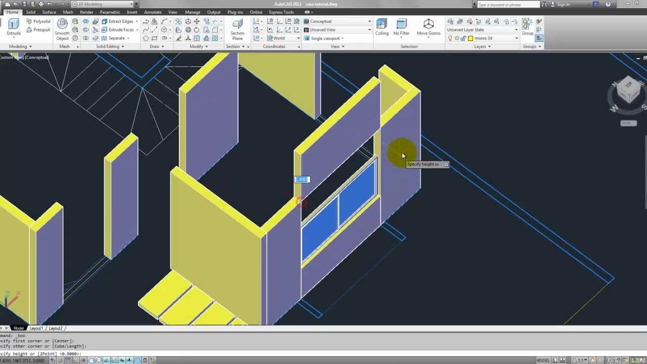 Tutorial autocad 3d 2012 espa ol modelar una casa parte 2 for Modelar habitacion 3d max