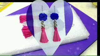 Easy DIY Earrings | Navratri Special pompom earrings |How To Make Beautiful Tassel Earrings At Home