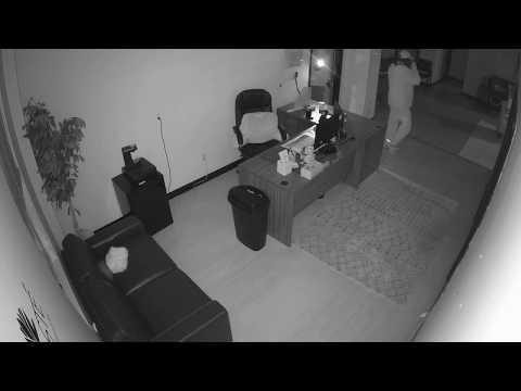 Video shows three intruders casing one of the offices and then suddenly rushing out of the four-story building at 560 Hudson Street in Hackensack around 2:45 a.m. March 1.