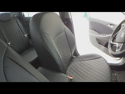 Hyundai Solaris. УСТАНОВКА ЧЕХЛОВ ИЗ ЭКОКОЖИ НА СОЛЯРИС ЗА 5 МИНУТ