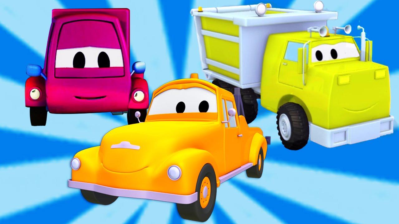 Tom La Dépanneuse Avec Le Camion Benne Et La Camionnette Dessin Animé Pour Enfants